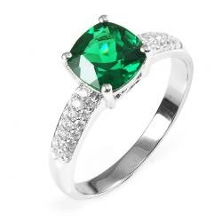 Cushion 1.8ct Created Green Russian Nano Emerald Solitaire Engagement Ring 925 Sterling Silver Rings