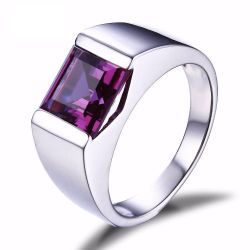 Men's Square 3.3ct Created Alexandrite Sapphire 925 Sterling Sliver Ring for Men Fine Jerwelry