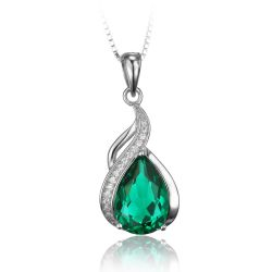 2.8ct Pear Nano Russian Emerald Pendants 925 Sterling Silver