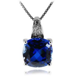 Cushion 4.9ct Created Blue Sapphire Solitaire Pendant 925 Sterling Silver Women Jewelry
