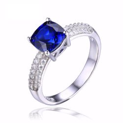 Cushion 2.6ct Created Blue Sapphire Solitaire Engagement Ring 925 Sterling Silver Ring