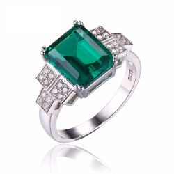 2.7ct Created Nano Russian Emerald Statement Ring For Women Real 925 Sterling Silver Jewelry