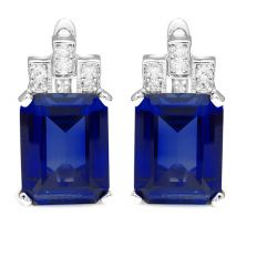 Luxury Emerald Cut 12.1ct Created Blue Sapphire Clip On Earrings 925 Sterling Silver