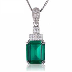 Nano Russian Emerald Pendant 925 Sterling Silver Women Jewelry Party Pendant Without Chain