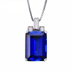 Luxury Emerald Cut 9.4ct Created Blue Sapphire Pendant Solid 925 Sterling Silver