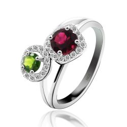Red & Green Tourmaline Ring Real Pure 925 Sterling Silver