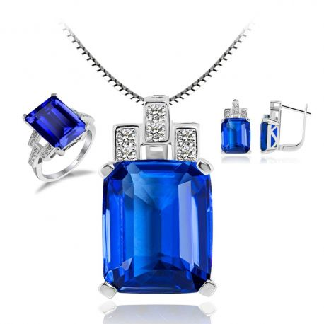 Created Nano Russian Emerald Blue Sapphire Red Ruby Jewelry Sets 925 Sterling Silver Ring Pendant Necklace