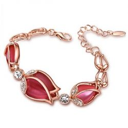 Rose Red Crystal Rhinestone Opal Cat eye's Stone Bracelet