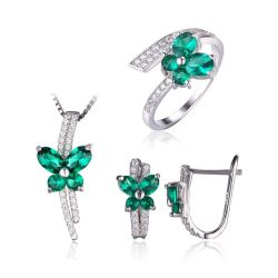 Nano Emerald Jewelry Set 925 Sterling Silver Ring Pendant Clip Earring