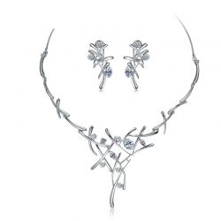 Silver Plated Rhinestone Crystal Earrings & Necklace for Women