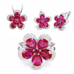 Solid Sliver Ruby Gemstone Jewelry Set Pendant Ring Earring
