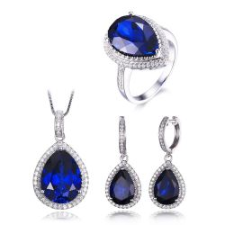 Solid 925 Sterling Silver Luxury Pear Cut Created Sapphire Ring Earring Pendant Jewelry Set