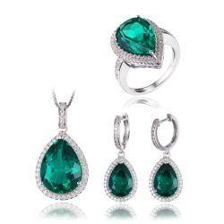 Nano Russian Emerald Jewelry Set Ring Earring Pendant  925 Sterling Silver