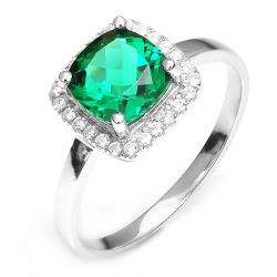 Cushion 2.3ct Created Nano Russian Emerald Solid 925 Sterling Silver Rings