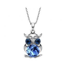 Blue Austrian Crystals Owl Long Chokers Necklaces & Pendants