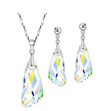 White Transparent Jewelry Sets MADE WITH SWAROVSKI ELEMENTS With Earrings Necklace