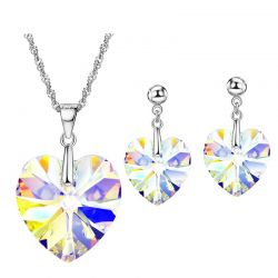 Heart Love MADE WITH SWAROVSKI ELEMENTS Transparent Crystal  Jewelry Set