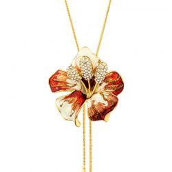 Gold Plated  Flower Shape Enamel Long Chains Necklaces Pendants for Women