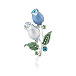 Blue Flower Enamel Rhinestone Brooches for Women