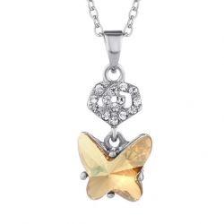 Pendant Necklace  Butterfly Shape Austria Crystal & Rhinestone