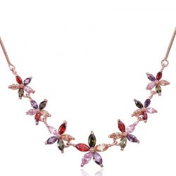 AAA Multicolor Zircon Rose Gold plated Flower Pendant Necklace