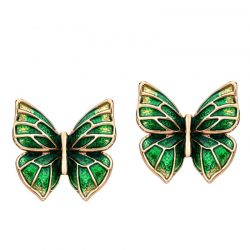 Rose Gold Plated Enamel Green  Butterfly  Stud Earring for Girls