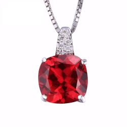 Cushion 4.9ct Created Red Ruby 925 Sterling Silver Solitaire Pendant For Women