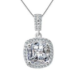 Cushion 3ct Cubic Zirconia Solitaire Pendant Solid 925 Sterling Silver