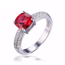 2.6ct Created Red Ruby Solitaire Engagement Ring For Women Genuine 925 Sterling Silver