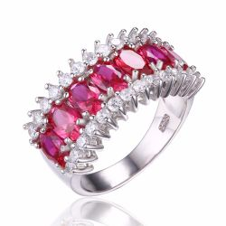 Pigeon Blood Red Ruby Ring Genuine Solid 925 Sterling Silver Jewelry
