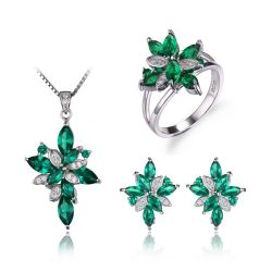 Green Created Emerald Jewelry Set 925 Sterling Silver Ring Necklace Pendant Clip Earring