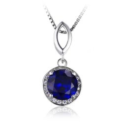 Round Cut 2.5ct Created Blue Sapphire Halo Pendant Solid 925 Sterling Silver Without a Chain
