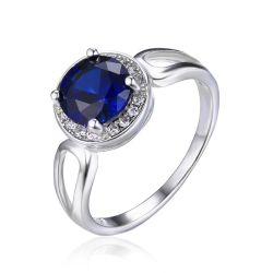Round Cut 2.2ct Created Blue Sapphire Engagement Halo Ring Solid 925 Sterling Silver