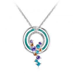 Platinum Plated Round Moon Blue Pendant Necklaces Austrian Rhinestone