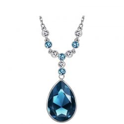 Austria Crystal & Czech Rhinestone Long Charm Pendant Necklace