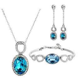 Blue Crystal Rhinestone Jewelry Set Necklace Earrings Bangle