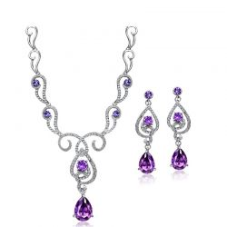 AAA Zircon Austrian Rhinestone Platinum Plated Fashion jewerly set
