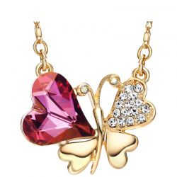 Necklace Butterfly Pendant Austrian Crystal & Rhinestone Zinc Alloy Gold Plated