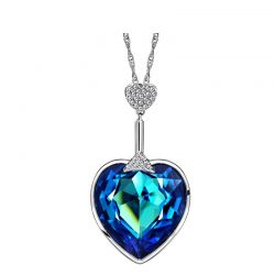 Love Heart Style Austria Crystal & Auden Rhinestone Long Charm Pendant Necklace