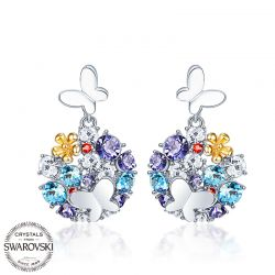 Butterfly on flower multicolor Crystal from Swarovksi Earring for women