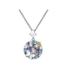 Butterfly and flower multicolor Crystal from Swarovksi Pendant Necklace  for women