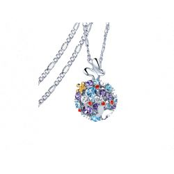 Butterfly and flower multicolor Crystal from Swarovksi Pendant  Long Necklace  for women