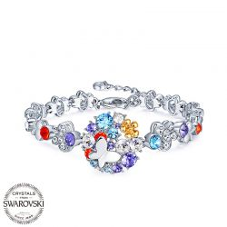 Butterfly and flower multicolor Crystals from Swarovksi Bracelet for women