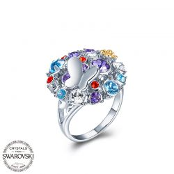 Crystals from Swarovski Butterfly flower Ring for women