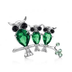 Large Owl Brooches and Pins Cubic Zirconia Rhinestone Green Red  Color