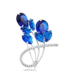 Austria Rhinestone & Zircon Brooch Alloy Plated Flower Design For Women