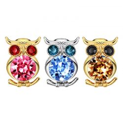 Austria Crystal Rhinestone Animal Owl Design Light Yellow Gold Color Brooches for Women