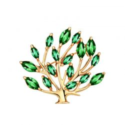 Zircon Plant Tree Design Alloy Light Yellow Gold Color Brooches for Women Fashion Jewelry