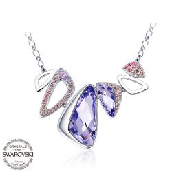 Crystals from Swarovski  Geometric shape Purple color necklace for women GIFT
