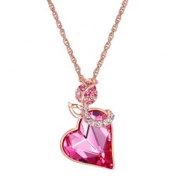 Love heart shape Pink Swarovski crystal Necklace Pendant for Gift